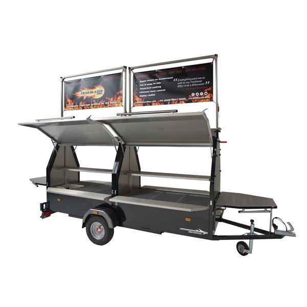 bbq trailer with overhead sign